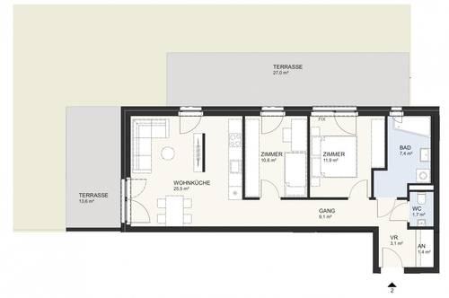 Hochwertige, neue Gartenwohnung am Klopeiner See mit ca. 71 m² Wohnfläche, Terrassen und Eigengarten, TOP 2, EG