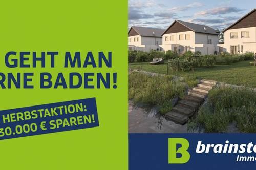 Bruck a.d.Leitha/Prellenkirchen: nur noch kurze Zeit: Spezialangebot: Doppelhaushälfte am Badeteich jetzt ab €299.000