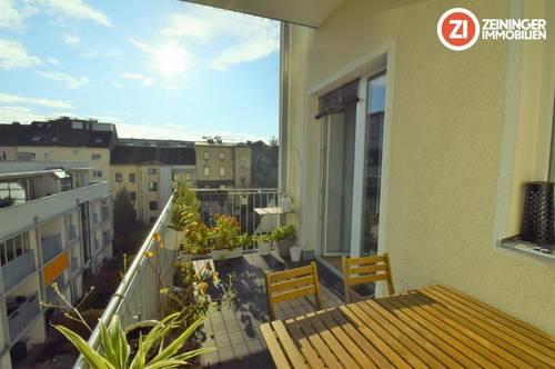Edle 3 Zimmerwohnung mit Balkon hofseitig und Küche im Linzer Zentrum