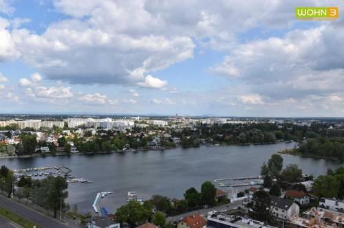 On top im 20. Stock !Luxuriöses, exklusives Wohnen direkt an der Donau! 20. !Voll möbliert ! Loggia mit Alte Donau blick!