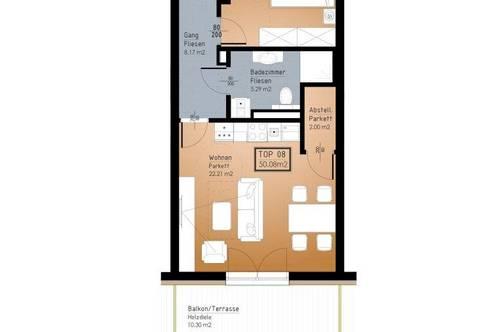 IN PLANUNG - NEUES BAUVORHABEN IM ZENTRUM VON RANSHOFEN (OÖ) - 2 Zimmer-Garten-Wohnung mit Terrasse!