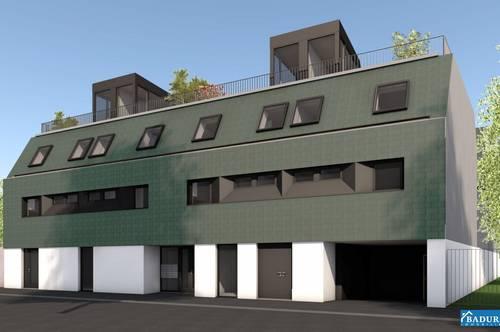 Erstbezug! **Provisionsfrei** Fantastische 3-Zimmer Wohnung mit Loggia, Balkon + große Dachterrasse + Eigengarten, inkl. Stellplatz Tiefgarage!!!