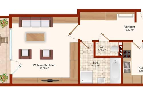 Schöne ruhige Wohnung, großer Balkon und neue Küche