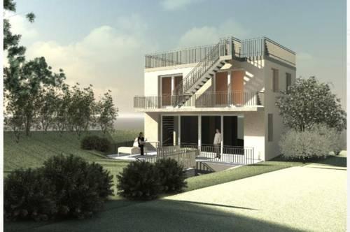 Fußbodenheizung + Gartenvilla in absoluter Ruhelage mit ca. 42 m² Dachterrasse mit atemberaubendem 360° Blick über Wien und die umliegenden Weinhänge