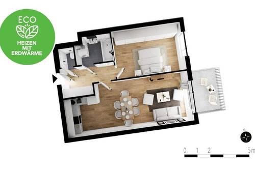 2-Zimmer mit Balkon | Erstbezug | Markenküche | Fußbodenheizung | elektr. Außenbeschattung | Erdwärme
