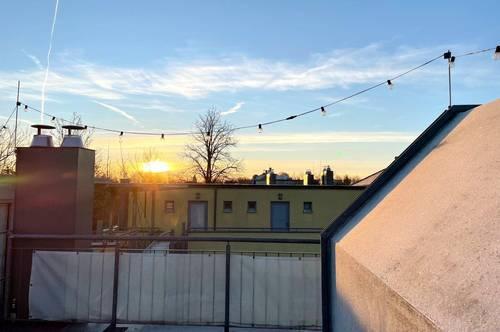 Baden, am Rosarium: Miet-Wohnung mit 2 Zimmern + Dachterrasse (1 Stock darüber) + Balkon + Wintergarten