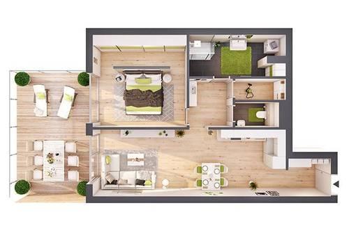 Provisionsfreie 2-Zimmer Neubau-Wohnung mit Terrasse (W04)
