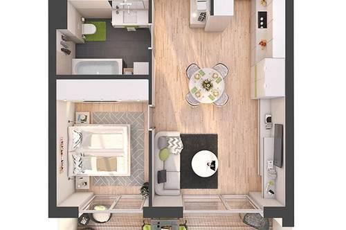 Provisionsfreie 2-Zimmer Neubau-Wohnung mit Balkon (W14)