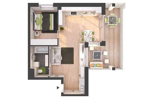 Provisionsfreie 2-Zimmer Neubau-Wohnung mit Balkon (W11)