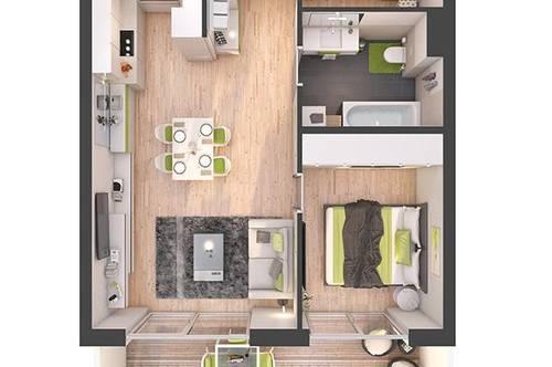 Provisionsfreie 2-Zimmer Neubau-Wohnung mit Balkon (W15)