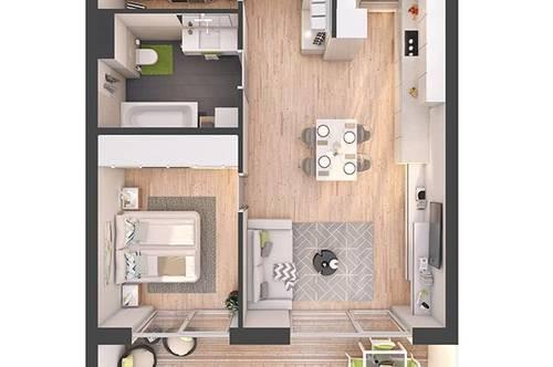Provisionsfreie 2-Zimmer Neubau-Wohnung mit Balkon (W16)