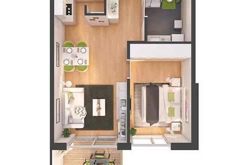 Provisionsfreie 2-Zimmer Neubau-Wohnung mit Balkon (W06)
