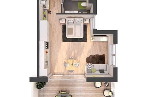 Provisionsfreie 1-Zimmer Neubau-Wohnung mit Balkon (W12)