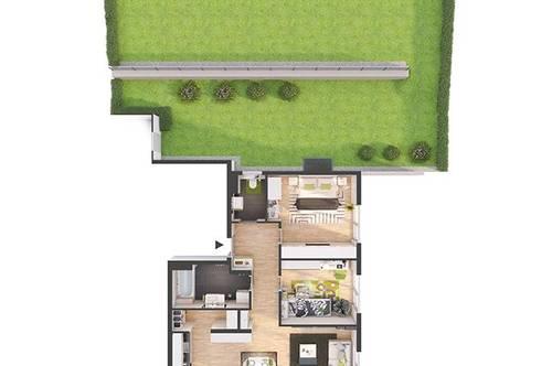 Provisionsfreie 3-Zimmer Neubau-Gartenwohnung mit Balkon (81W3)
