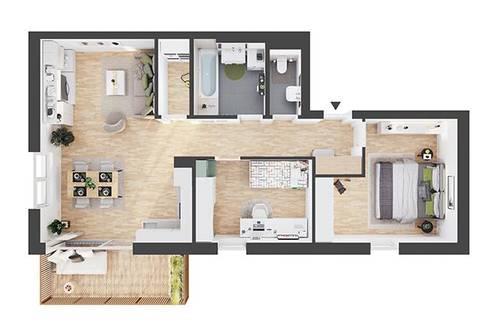 Provisionsfreie hochwertige 3-Zimmer Dachgeschosswohnung (CW07)