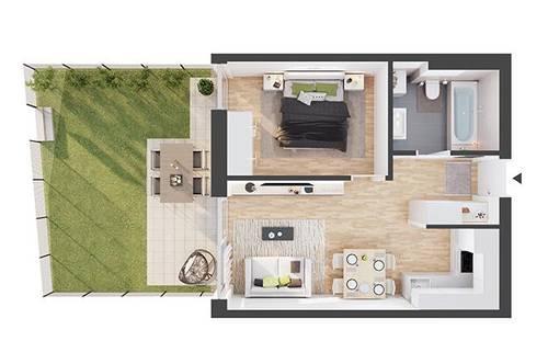 Provisionsfreie 2-Zimmer Neubau-Gartenwohnung (AW02)