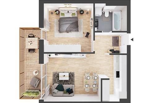 Provisionsfreie 2-Zimmer Neubau-Wohnung mit Balkon (AW05)