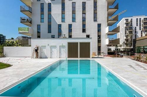 Grosszügige 3 Zimmerwohnung ERSTBEZUG mit Pool, Fitnesscenter + Garage am Helmut-Zilk-Park 1100 Wien
