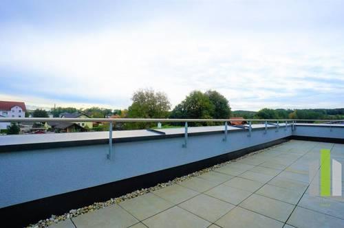Ausblick: 4 Zimmer Wohnung mit Dachterrasse und Carport