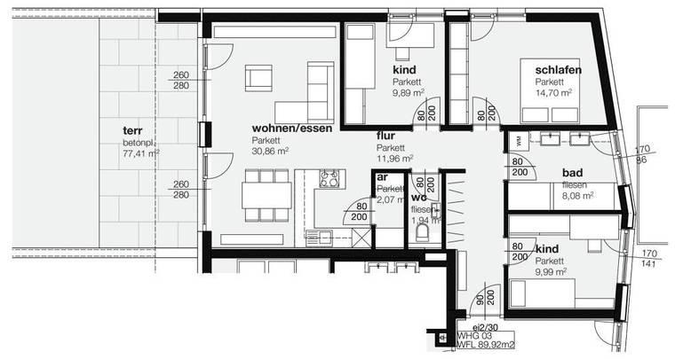 Plan Terrassenwohnung Top 3