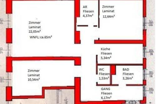 Provisionsfrei:  WG geeignete 3 Zimmer Wohnung in Biedermannsdorf sofort zu vergeben