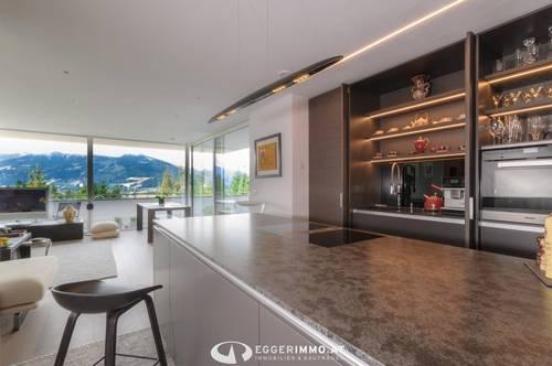 5760 Saalfelden / Bachwinkl: die Gelegenheit: einzigartige Designer Wohnung 78m², unverbaubarer Ausblick , 47m² sonnige Terrasse, Weitblick, absolute Ruhelage ! 2 Parkplätze