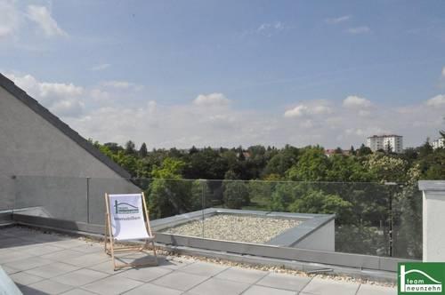 Blick über WIEN! Große Dachterrasse mit Fernsicht, zentrale begehbare Räume, Garage, Klima, Nähe Höpflerbad!