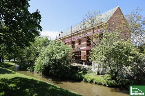 Eigengarten am Mödlinger Bach - Neubauprojekt direkt am Wasser - Innenhof Ruhelage - südlich vor den Toren Wiens - Pkw-Stellplätze