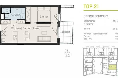 EINMALIGER AUSBLICK-EINMALIGE LAGE- 2 Zimmer mit Balkon!