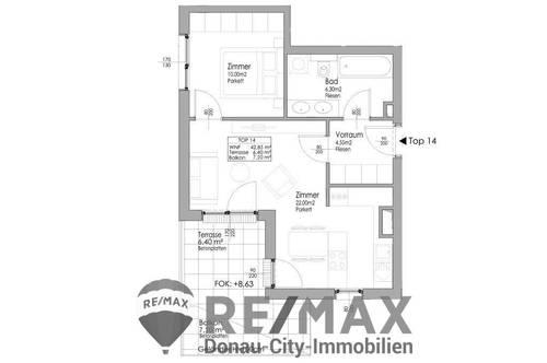 Charmante Aufteilung in 2 Zimmer DG-Wohnung ohne Schrägen und Südwestterrasse