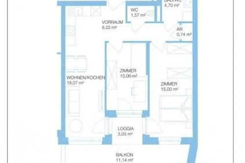 Straßgang - Erstbezug - Quartier 4 - 60m² - 3 Zimmer - großer Balkon und Loggia - ink. TG Platz