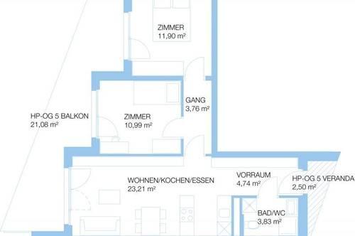 3 Zimmer (58,43m²)   Triester Strasse 432, 8055 Graz   Anlegerwohnung