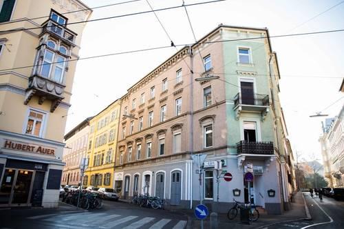 Eine echte Rarität mit zwei Adressen! Markantes Eckzinshaus direkt gegenüber der Kunstuniversität im Grazer Bezirk St. Leonhard