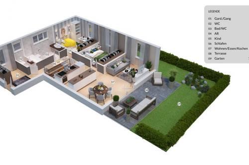 Herrliche Gartenwohnung mit Garage