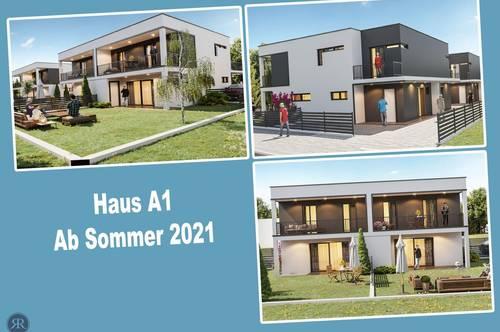 4-Zimmer Doppelhaushälfte in Ziegelmassivbauweise mit Balkonen, Terrasse und Garten / ab Sommer 2021 / Haus A1