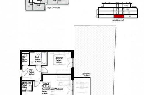 2-Zimmer mit Garten und Terrasse im EG - ab sofort - Top 104