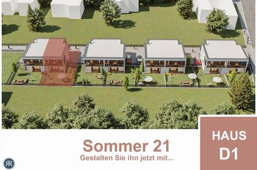 4-Zimmer Doppelhaushälfte in Ziegelmassivbauweise mit Balkonen, Terrasse und Garten / ab Sommer 2021 / Haus D1