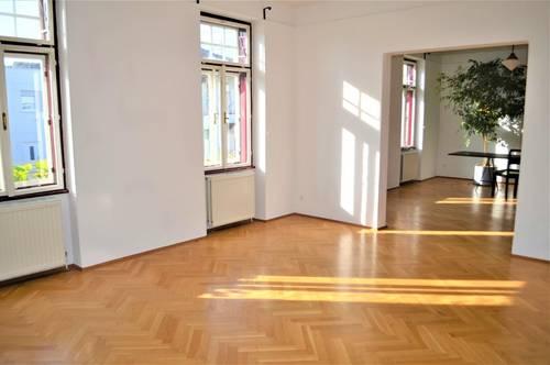 WEINBERGE-NÄHE! Elisabethstraße, sonnige 91 m2 Altbau mit 30 m2 Balkon/Terrasse, 3 Zimmer, Extraküche, Parketten, Ruhelage