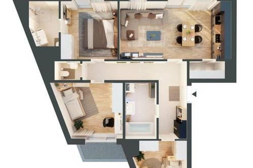 Provisionsfrei! Moderne 4-Zimmer-Wohnung mit Klimaanlage und großer Terrasse - Top 6.11