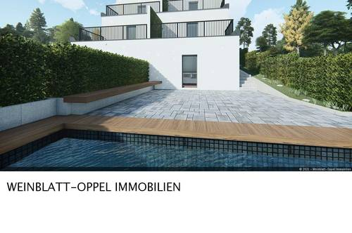 Architekten Doppelhaus mit Pool in absoluter Grünruhelage!