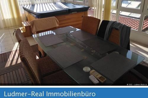 170m2 3-Zimmerwohnung mit Wintergarten, Wirlpool und Terrasse in Purbach