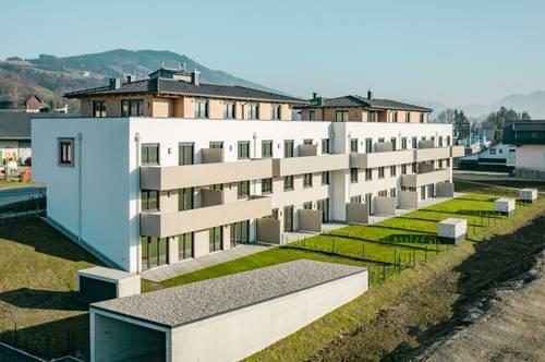 RESERVIERT!!! Moderne 2 Zi. Neubau - Mietwohnung - ERSTBEZUG mit Balkon, Lift, großem Keller, 2 TG-Plätze, zwischen Mondsee und Irrsee