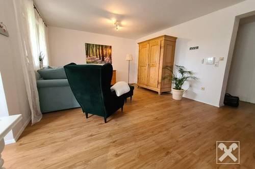 Hohenweiler: Voll möbilierte 2-Zimmerwohnung mit Terrasse, Garten und Blick ins Grüne