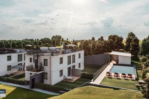 Kit Paket - Basishaus - Doppelhaushälfte mit Garten und Dachterrasse - Gemeinschaftspool - Holzriegelbau - Wohnpark Bad Deutsch Altenburg