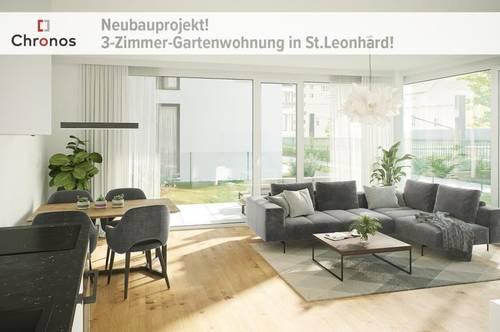 NEUBAU! 3-Zimmer-Gartenwohnung mit großem Garten in St.Leonhard!