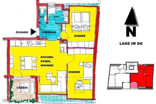 schlüsselfertige DACH-Terrassenwohnung mit Loggia in Sooß / Baden bei Wien