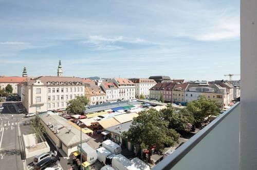VITANEUM  Leben am Benediktinermarkt  Großzügige Terrassenwohnung mit Blick über die Dächer von Klagenfurt und dem Benediktinermarkt