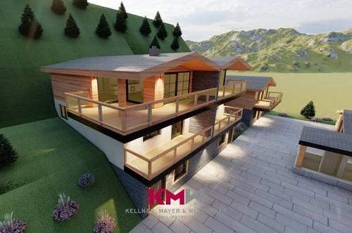 RESERVIERT! Nur mehr 1 verfügbar! Ankündigung! Projektiertes Neubau-Chalet, Doppelhaushälfte, mit Zweitwohnsitz-/Freizeitwohnsitzwidmung in sonniger Aussichtslage. Nähe Zell am See - Kaprun