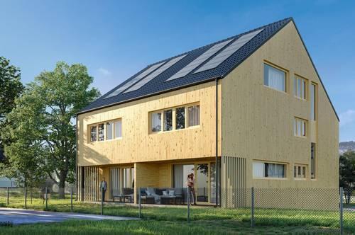 Ökologisches Massivholz Doppelhaus in Feldkirch-Tisis