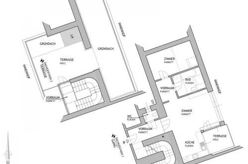 Unbefristet: 2-Zimmer-DG mit Terrasse und Balkon